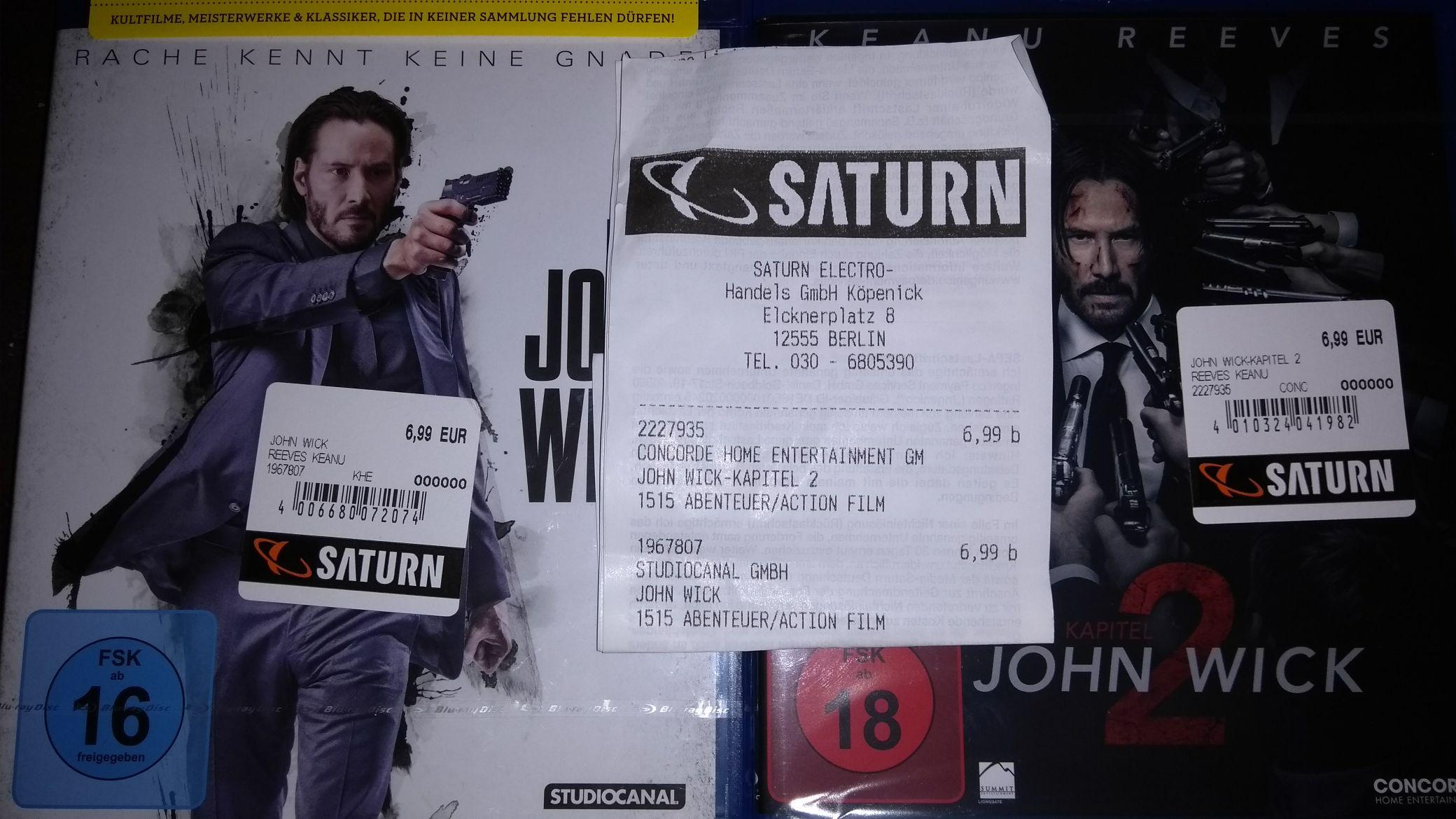 [Lokal Saturn Berlin Köpenick] John Wick 1+2 Bluray je € 6,99