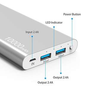 (Amazon Prime) Power Bank, Kinps 10000mAh (Dual Port, Total 5V/3.5A)