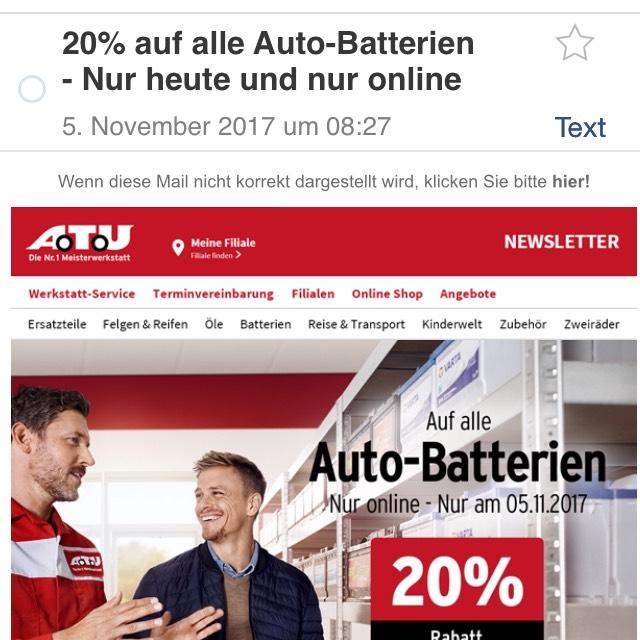 20% auf Auto Batterien - nur heute