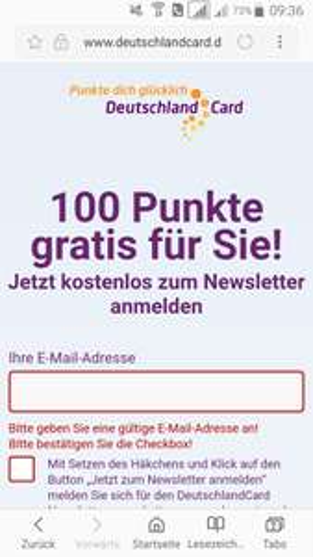 100-250 DeutschlandCardpunkte gratis für Newsletteranmeldung bis 12.11.17