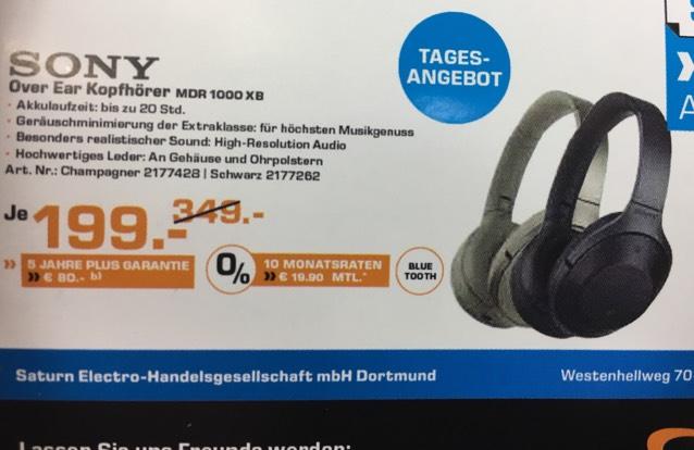 [Lokal Dortmund Saturn] Sony MDR 1000 X für