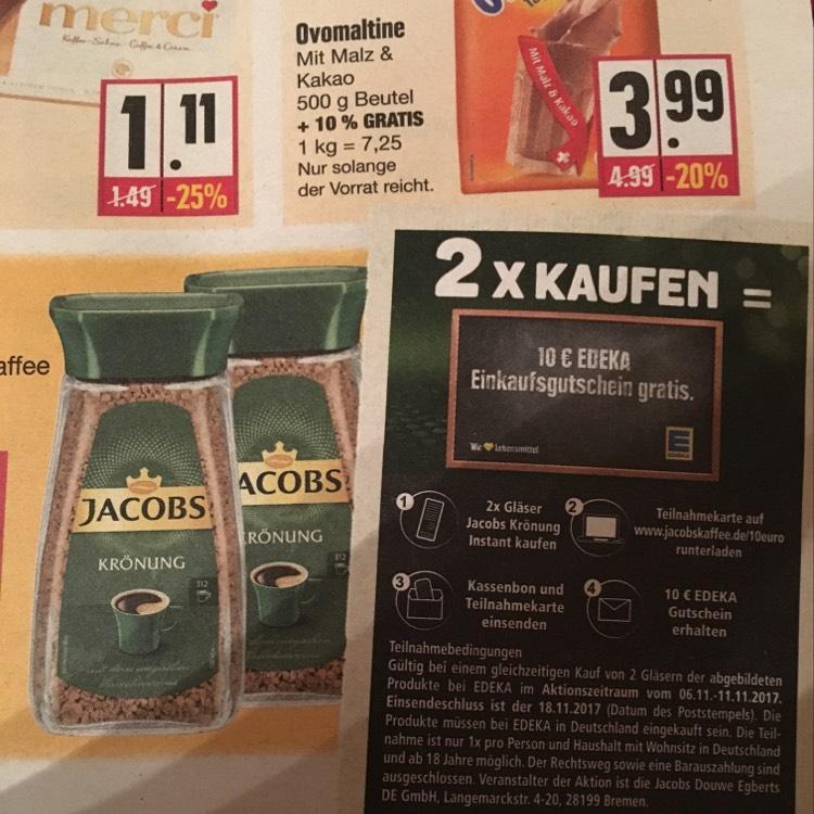 2 mal Jakobs Instant durch Gutschein für 4,68 Euto bei Edeka