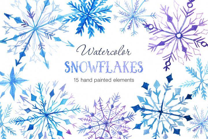 [DesignBundles.net] Free Design of the Week: Watercolor Snowflakes Set Vol.2 kostenlos statt 7$