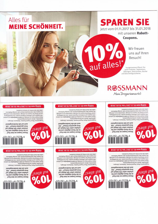 Rossman - 10 % Gutscheine bis 31.01.2018 - mydealz.de