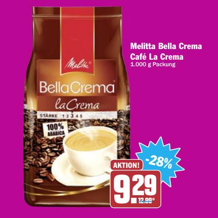 "[AEZ, ELLI, HIT & Globus] Melitta ""Bella Crema - La Crema"" Kaffeebohnen 1kg für 6,79€ bei Elli+Globus nur 6,49€ (10.+11.11.2017)"