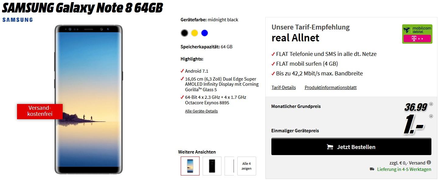 SAMSUNG Galaxy Note 8 64GB mit 4 Gb Allnet Flat (Mobilcom Debitel - Telekom/Vodafone) kein LTE