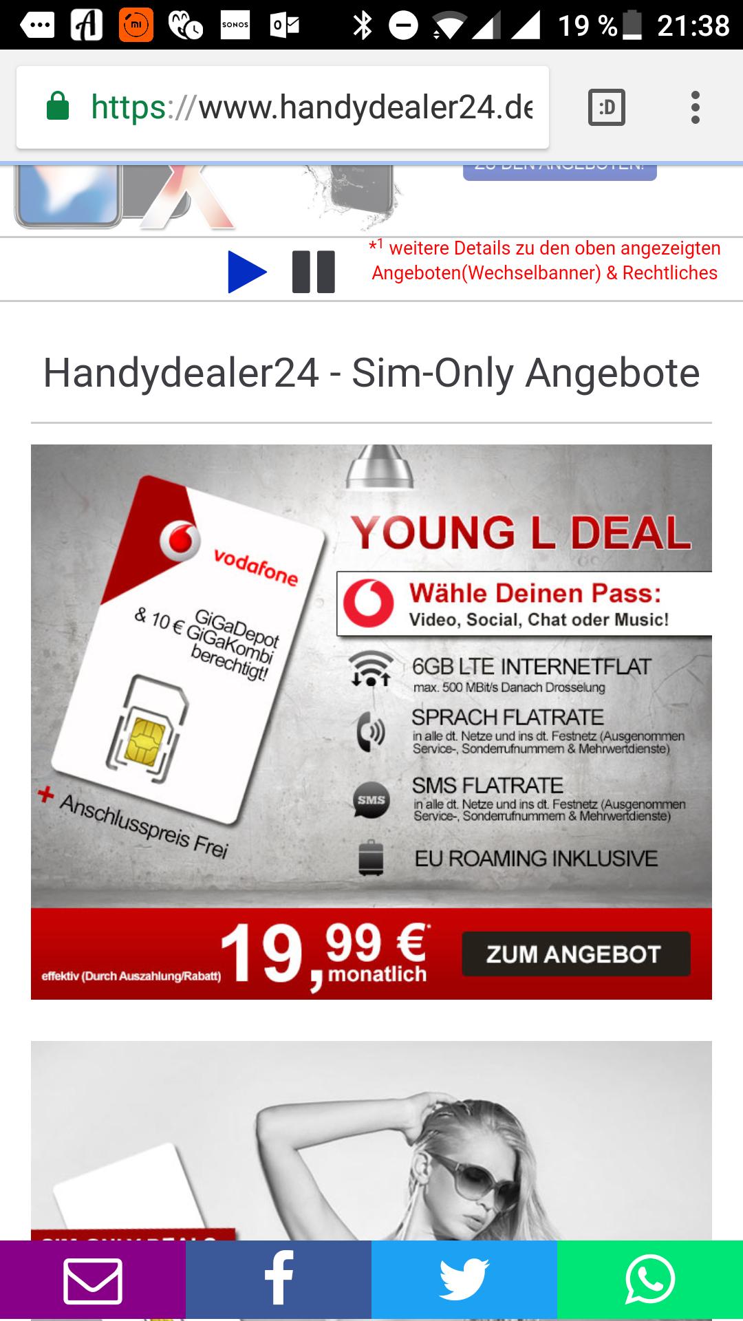 Vodafone Young L Tarif für 19,99€/Monat