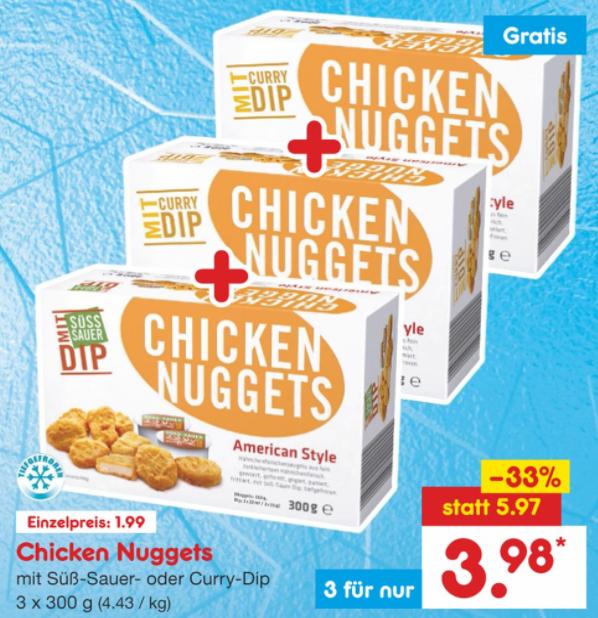 [Netto MD] 3x 300g Chicken Nuggets mit Sauce für nur 3,98€ (1,33€/Packung) Donnerstag-Samstag