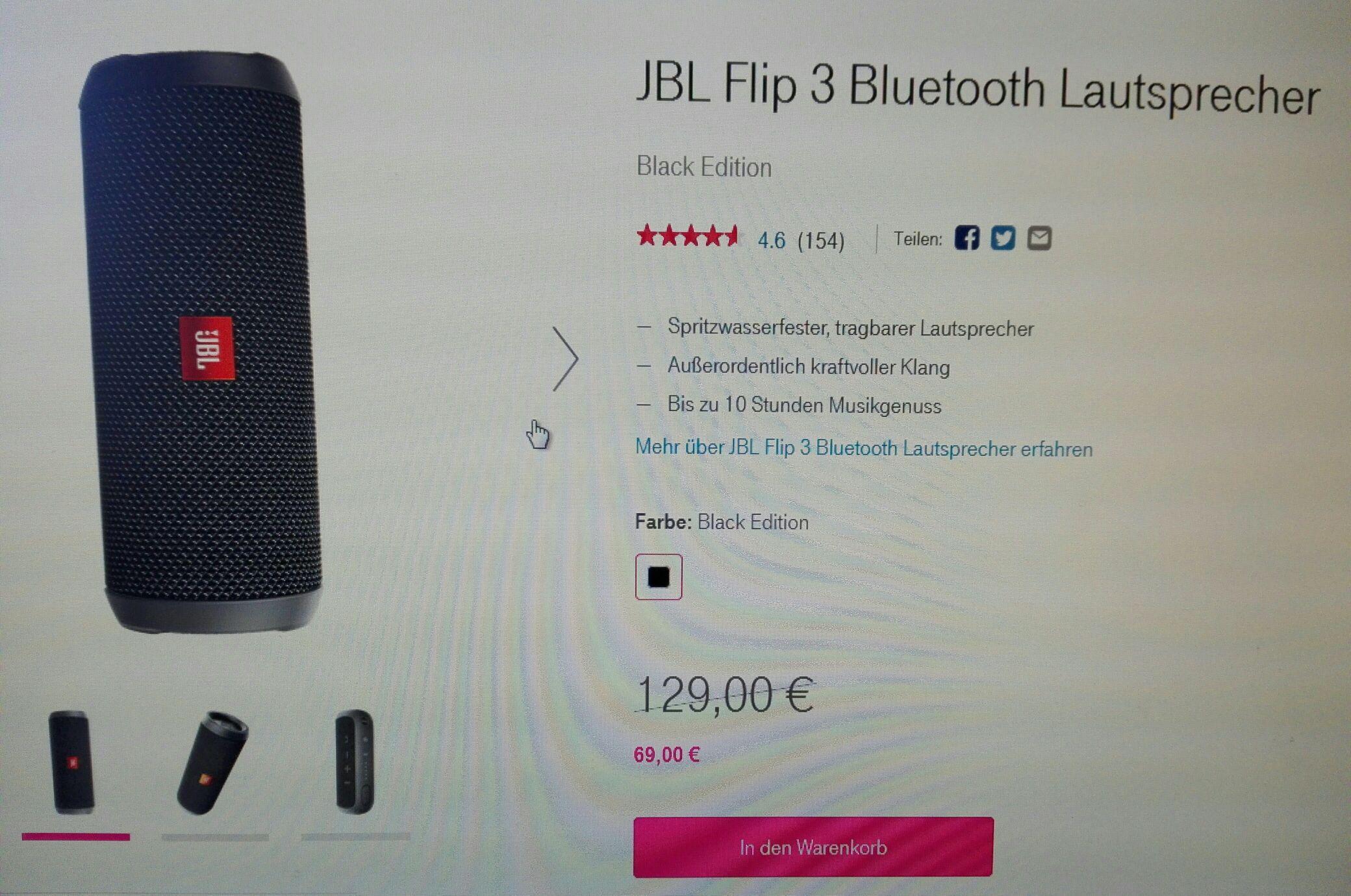 JBL Flip 3 bei Telekom für 69,00€ (VSK-Frei)