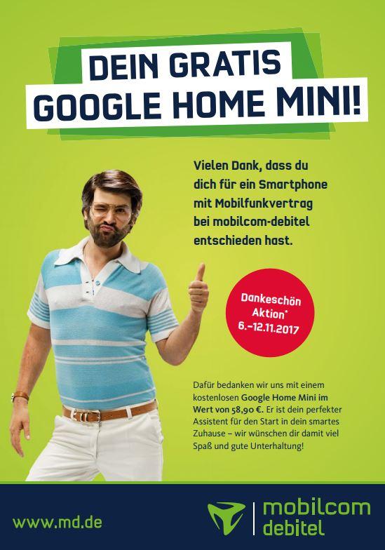 Gratis Google Home Mini für Abschluss Vertrag mit Handy bei Mobilcom-Debitel