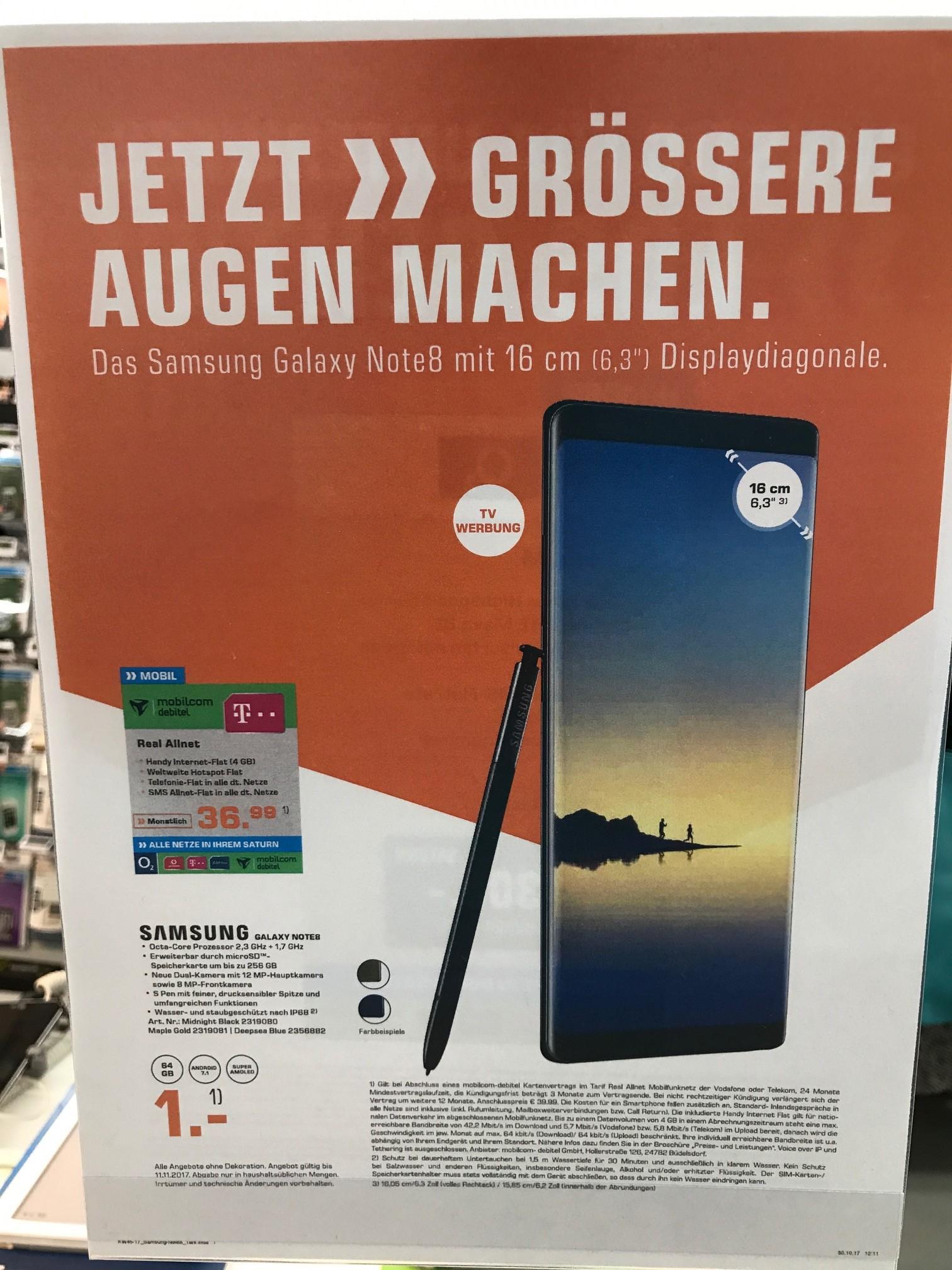 Samsung Note 8 Für 37€ Monatlich inkl 4GB internet Allnet Flat Saturn Lübeck D1 oder D2