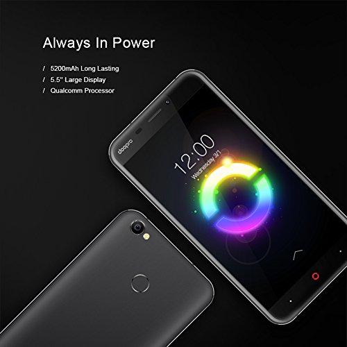 [Amazon-Blitzangebote] Doopro P2 Pro - 4G Smartphone (Schwarz) (5.5 Zoll, Android 6.0, 1.3GHz Qualcomm MSM8909 Quad-core, 2GB RAM 16GB ROM, 5200mAh, Fingerprintsensor ID, Dual SIM, Dual Kamera)