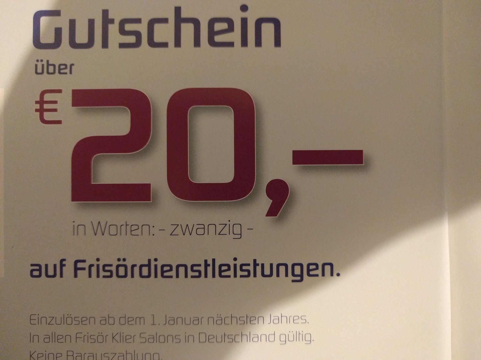 Klier Frisör Gutschein, 20€ für 15€