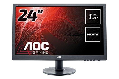 AOC E2460SH 60,96 cm (24 Zoll) Monitor (VGA, DVI, HDMI, 1920 x 1080, 60 Hz, 1ms Reaktionszeit) schwarz