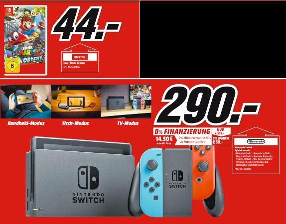 [Regional Mediamarkt Meerane ab 08.11] Nintendo Switch schwarz + Joy-Con neon-rot/neon-blau für 290,-€ // Super Mario Odyssey (Switch) für 44,-€