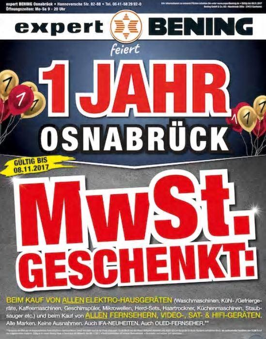 (Lokal Osnabrück Expert) MwSt geschenkt