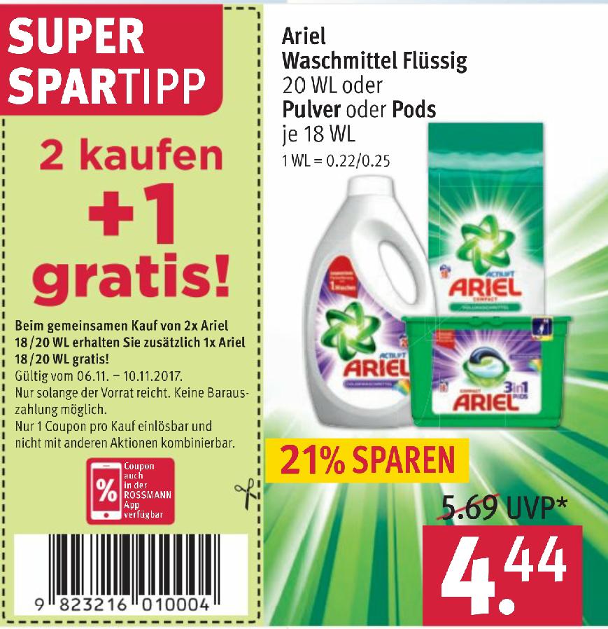3 x Ariel Waschmittel (flüssig, Pulver oder Pads)