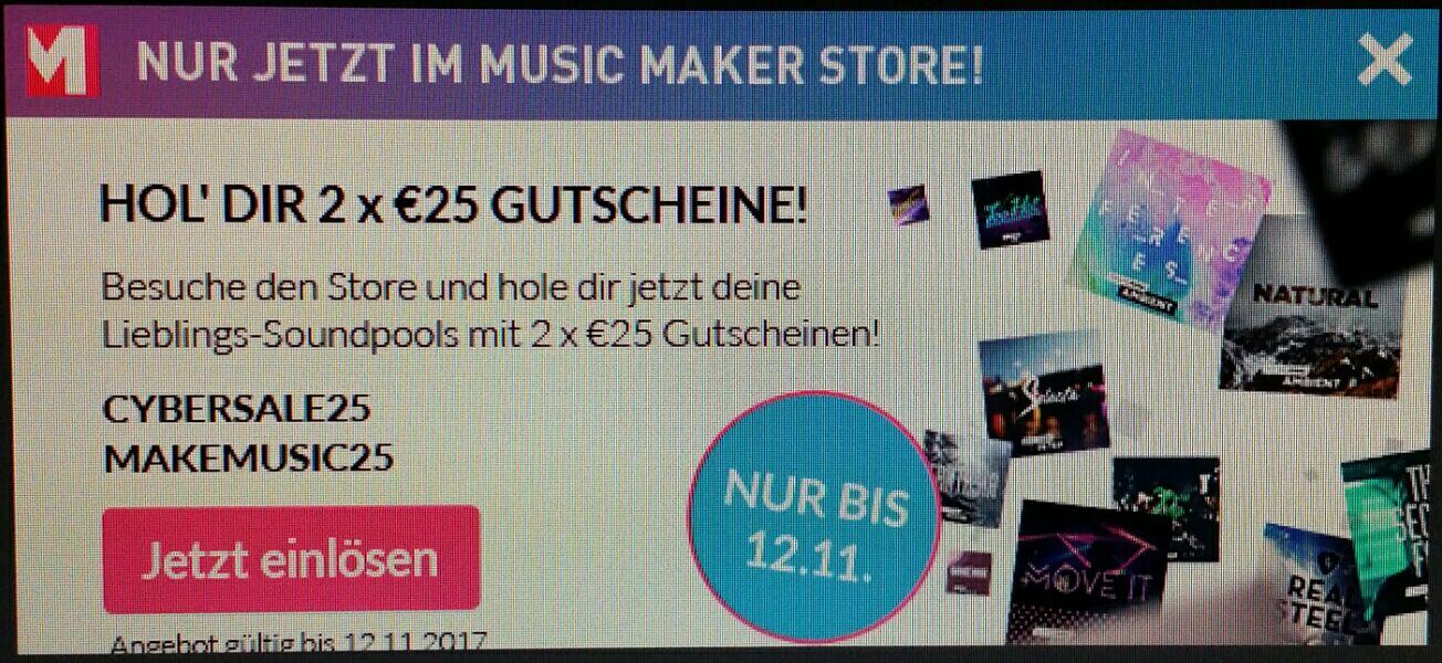 Magix Music Maker 2x 25 € Gutschein für Soundpools und Instrumente