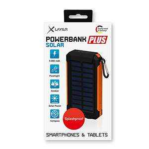 [Solar Powerbank] XLayer PLUS 8000 mAh Orange/Schwarz Vesandkostenfrei