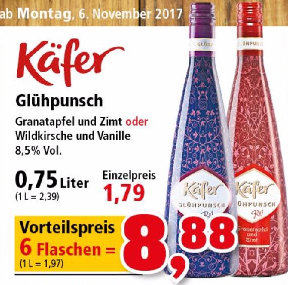 """[Thomas Philipps] 6x Käfer Glühpunsch """"Granatapfel & Zimt"""" oder """"Wildkirsche & Vanille"""" 0,75l für 1,48€/Flasche"""