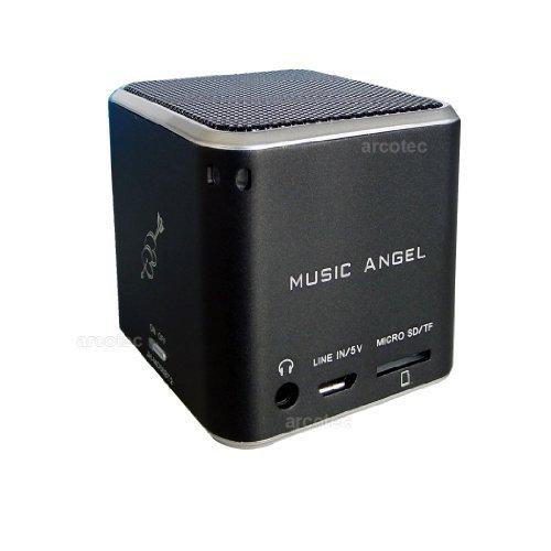 [arcotec / Allyouneed] Music Angel Cube Mini Lautsprecher Musik Würfel nur 5x5x5cm, 3W RMS Mono Speaker, original Music Angel Soundprozessor, FM-Radio, microSD-Kartenslot, LINE-IN 3,5mm Klinke, Kopfhöreranschluss, inkl. microUSB-Ladekabel