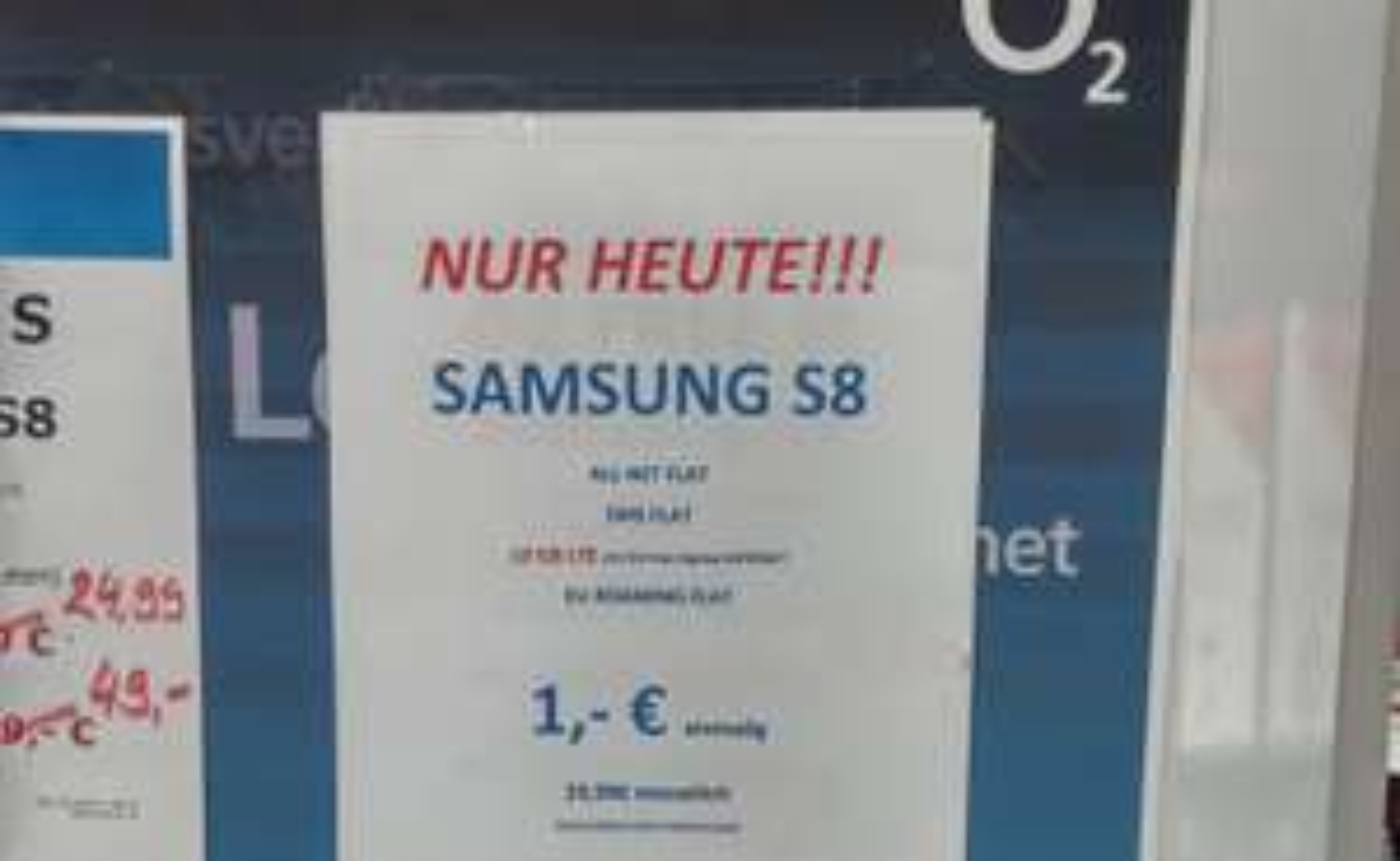 [ Lokal Saturn Bremen City] Nur Heute! Samsung Galaxy S8 o2 Free M 10GB 29,99x24 --> 750,75€