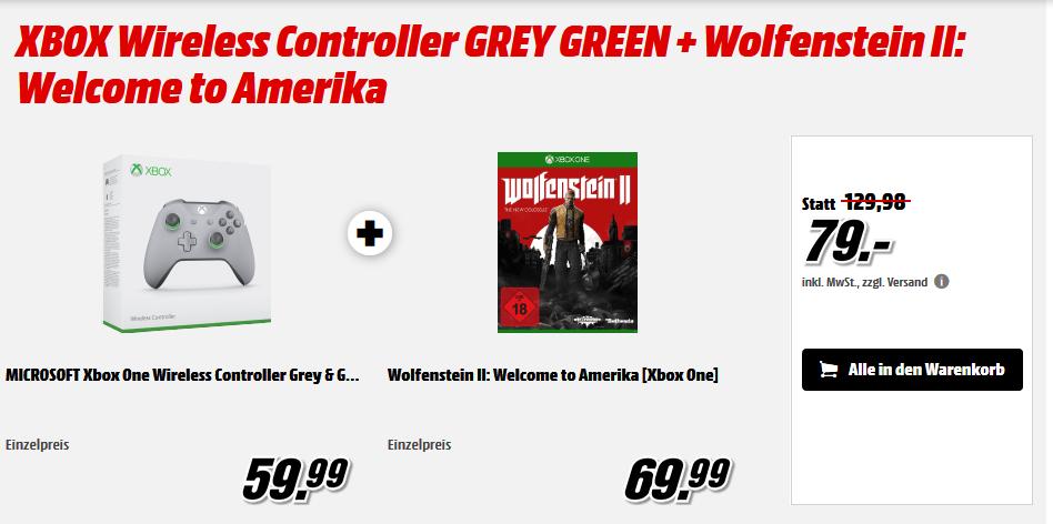 Xbox Wireless Controller S (Grey & Green Special Edition) + Wolfenstein II: The New Colossus (Welcome to Amerika) für 79€ & Xbox Controller S (Schwarz) + The Evil Within 2 für 75€ versandkostenfrei (Media Markt)