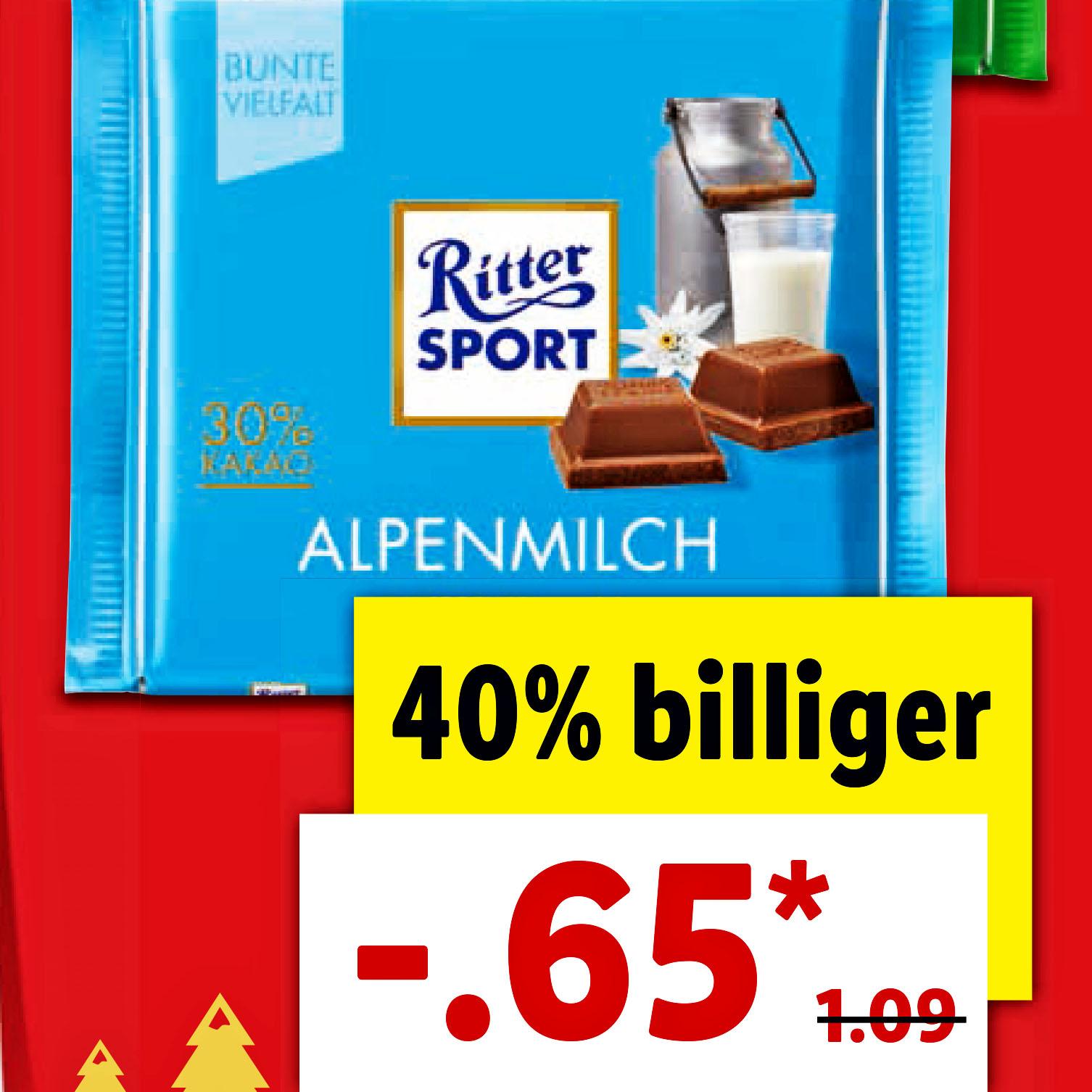 Ritter Sport Bunte Vielfalt auch die Wintersorten für nur 65 Cent bei (Lidl)