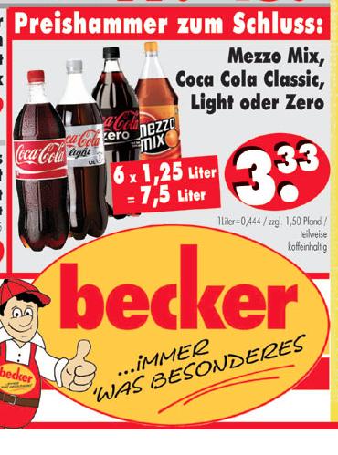 Cola / Fanta / Mezzo (6*1,25l = 7,5l) 44,4ct/Liter (RB Becker)