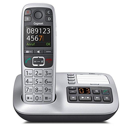 [NBB] Gigaset E560A Telefon - Schnurlostelefon / Mobilteil - Farb-Display - Anrufbeantworter - Freisprechfunktion - Grosse Tasten Telefon -mit SOS Taste - Analog Telefon - platin