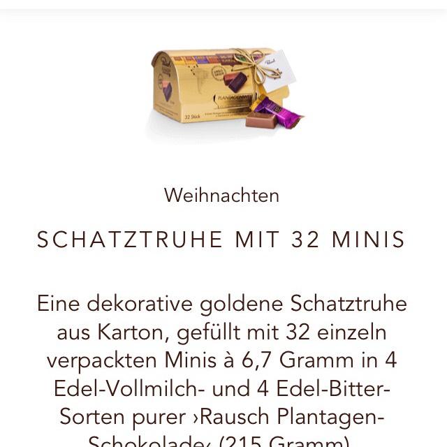 Rausch Schokoladenhaus - Gratis Schatztruhe mit Schokoladenminis (Wert: 6,40) ab 10 Euro Bestellwert