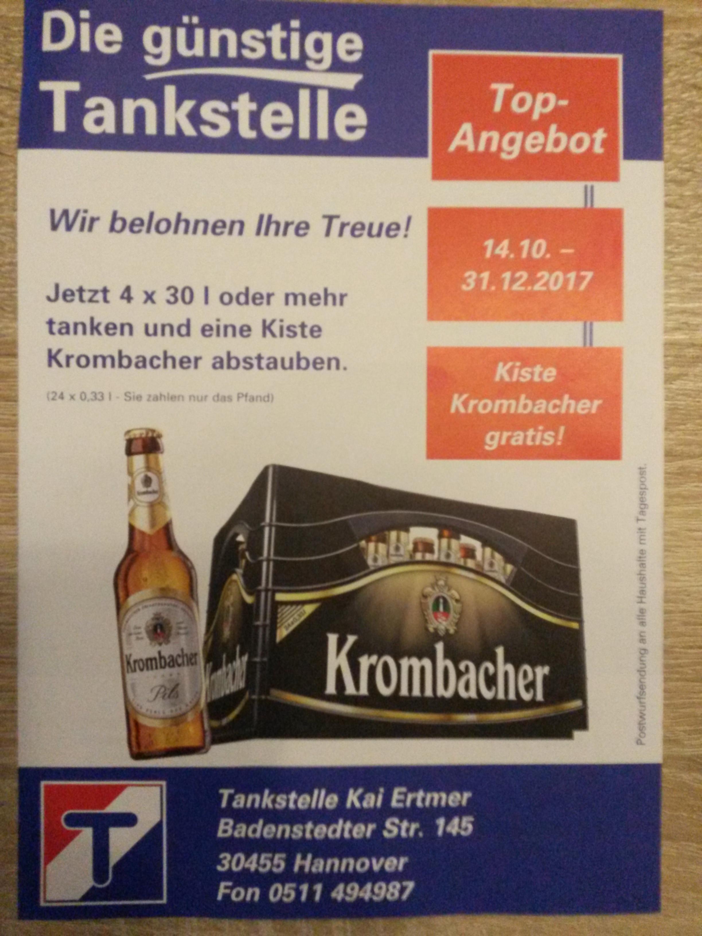 [Lokal Hannover] 4x 30 Liter tanken bei Westfalen Tankstelle (Badenstedter Str. 145) und eine Kiste Krombacher (24x0,33L) gratis erhalten