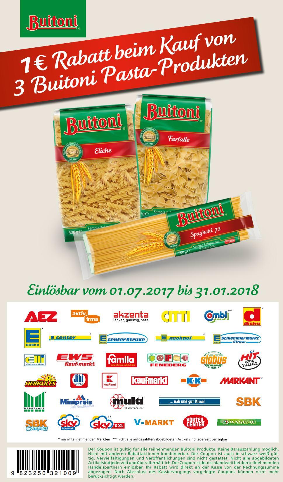 [Bundesweit] Neuer 1,00€ Sofort-Rabatt-Coupon für den Kauf von 3 Buitoni Pasta-Produkten bis 31.01.2018 [zum Ausdrucken]