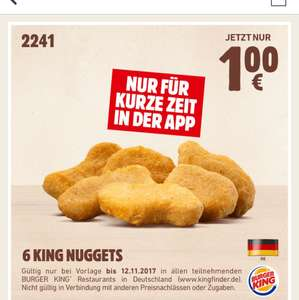 6 King Nuggets bei Burger King für 1 Euro