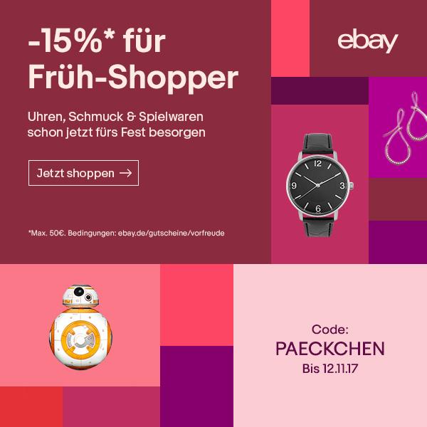 15% Rabatt beim Geschenkekauf von Uhren, Schmuck & Spielwaren bei ebay (mit Paypal als Zahlungsmittel)