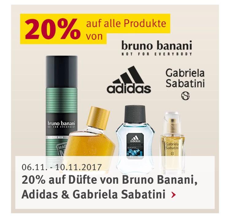 Rossmann 20% auf alle Produkte von bruno banani, Adidas und Gabriela Sabatani