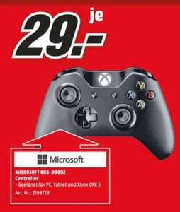 [Regional Mediamarkt Wilhelmshaven und Bremerhaven] Microsoft Xbox Wireless Controller + Cable for Windows Game Pad Bluetooth Schwarz für PC One S (4N6-00002) für 29,-€