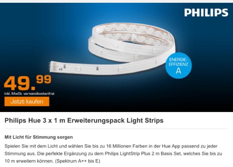 Philips Hue Lightstrip Plus Erweiterung 1 Meter (3er Pack, also insgesamt 3 Meter) bei Saturn im Nightdeal bis Donnerstag 09:00 Uhr (Preis/Meter 16,66€)