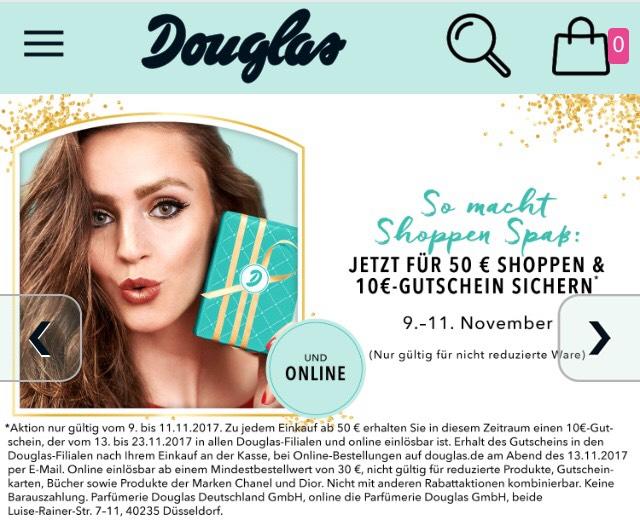 Douglas - Ab 50 Euro Einkauf 10 Euro Gutschein für den nächsten Einkauf