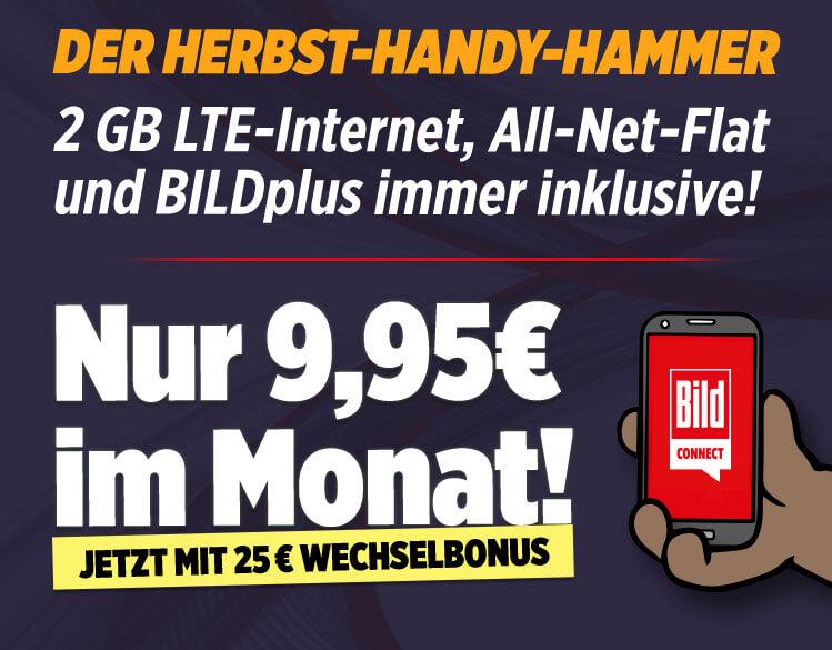 BildConnect SimOnly Handyvertrag im o2-Netz mit 2 GB LTE, AllNet-Flat und SMS, EU Roaming und BILDplus - keine Datenautomatik
