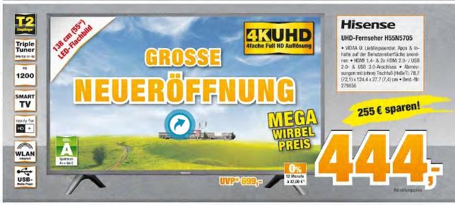 LOKAL (Nordwestdeutschland): HISENSE H55N5705 (Idealo: ~ 550,-)