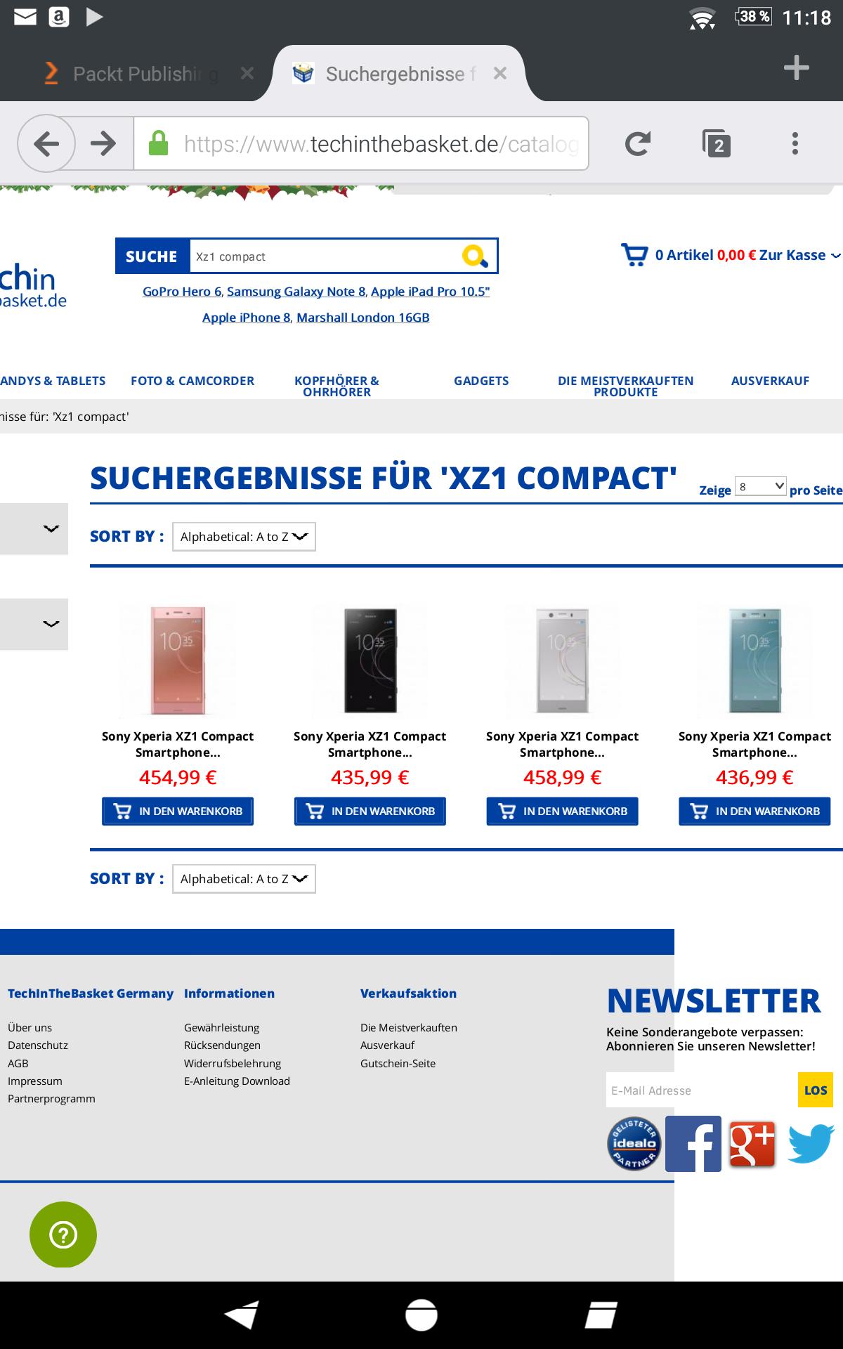 [Update] Sony Xperia XZ1 Compact für 364 € in schwarz, in silber für 369 €