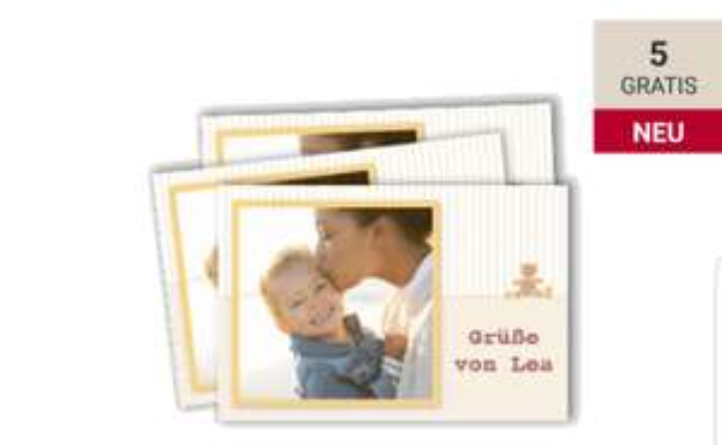 ROSSMANN Babywelt 5 gratis Foto Grußkarten