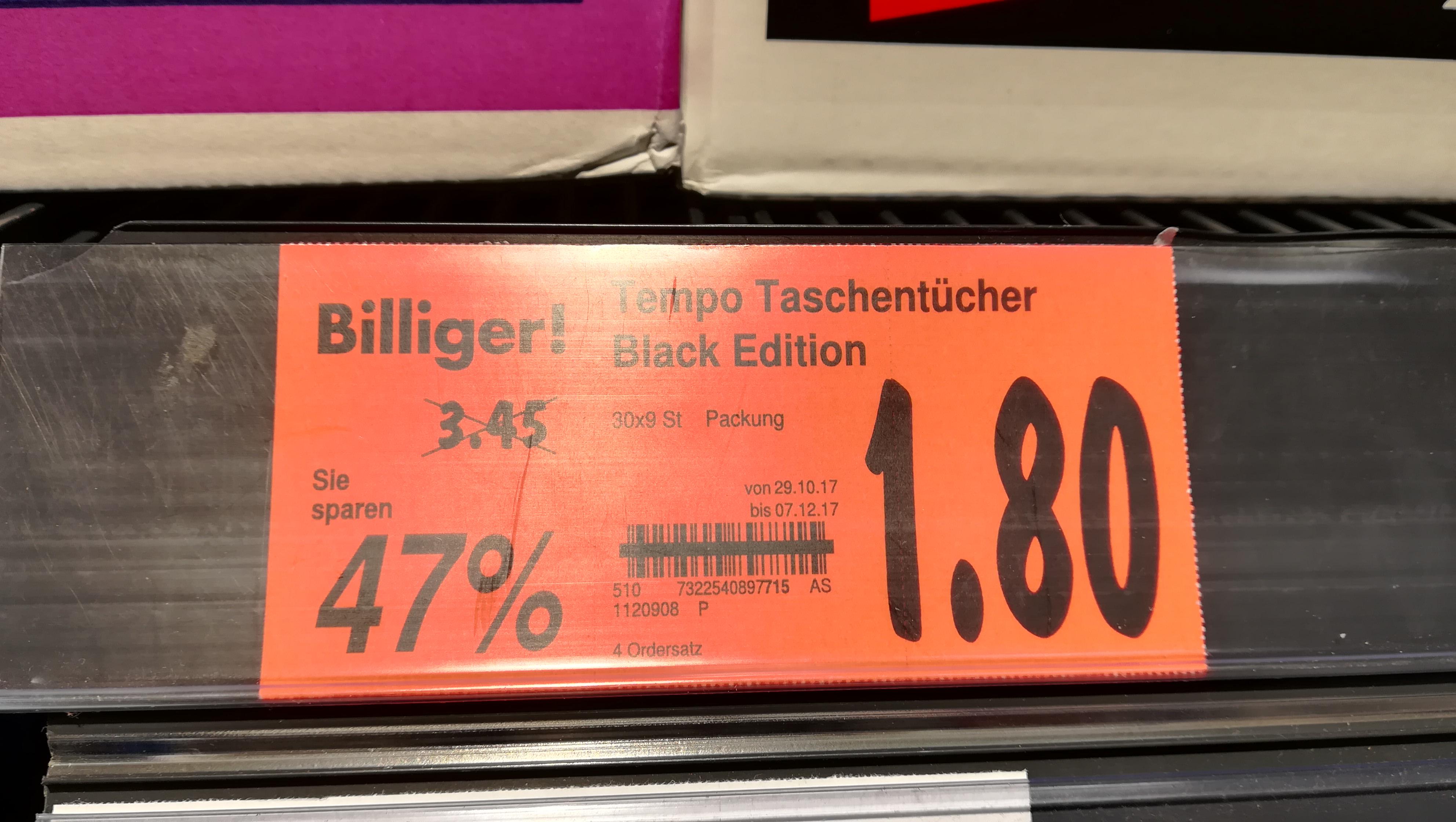 [lokal] Kaufland Gera - Tempo Black Edition Taschentücher 270 Stück 30x 9 Tücher 4-lagig, dermatologisch getestet