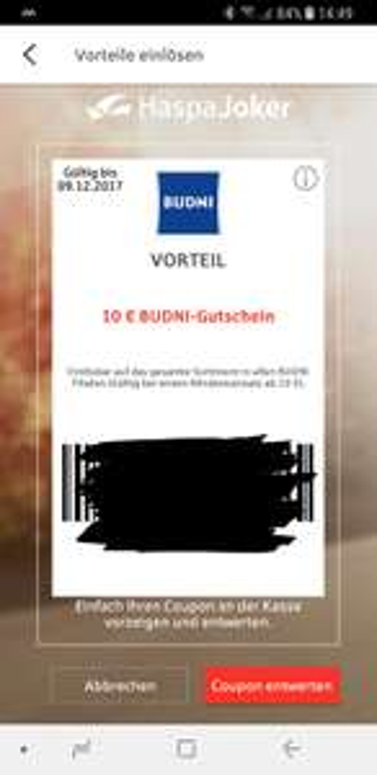 [Lokal?]HaspaJoker 10€ Budni Gutschein