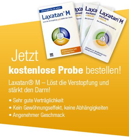 """3 Proben """"Laxatan® M"""" gegen Verstopfung gratis bestellen"""