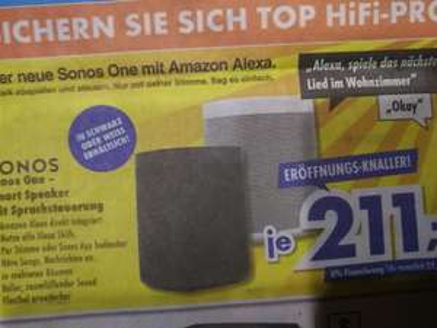 (Lokal) Sonos One Alexa weiss oder schwarz