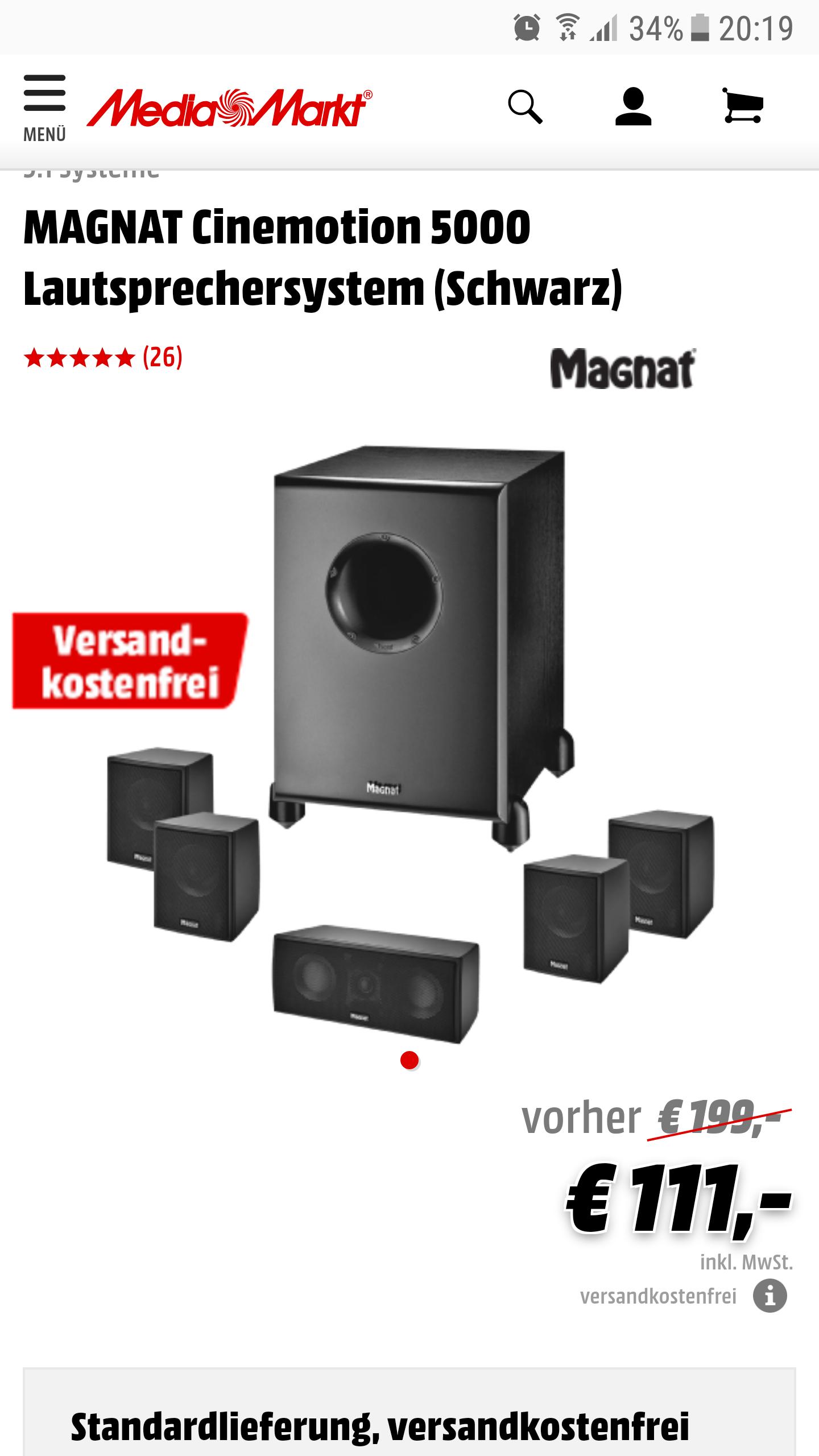 Magnat Cinemotion 5000 5.1 Lautsprecher Set / versandkostenfrei [Media Markt Online]