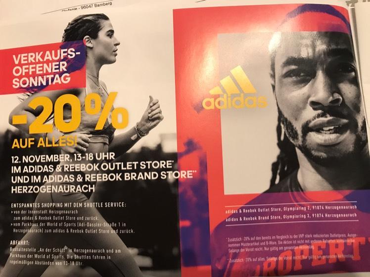 [lokal] 20% auf Alles im adidas Outlet & Brand Store in Herzogenaurach 12.11.17