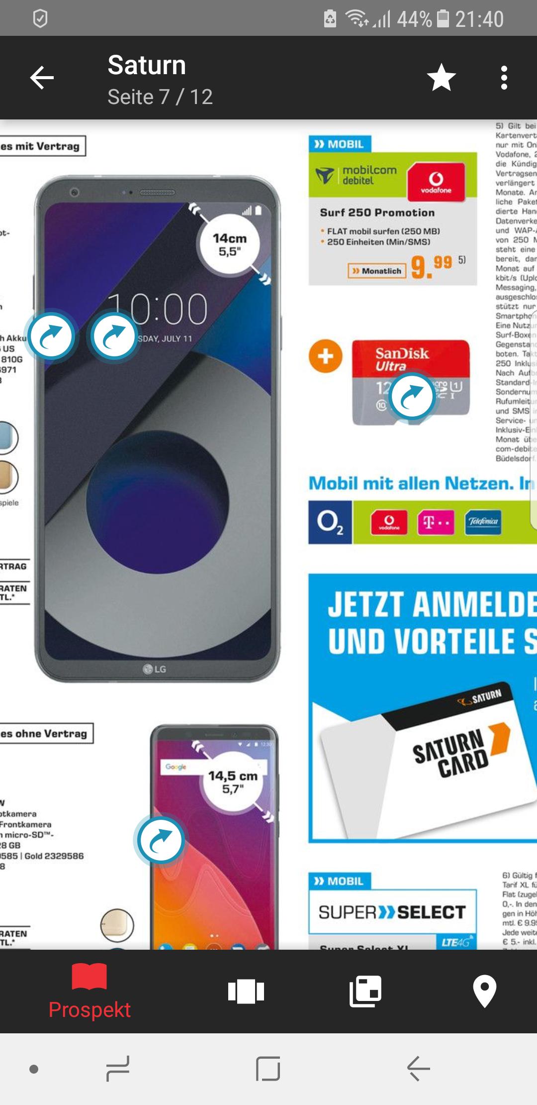 LG Q6 + 128 GB Speicherkarte im Mobilcom Vodafone Surf 250 Promotion Tarif(250 Frei-SMS/Minuten und 250 MB Internet Flat) @Saturn